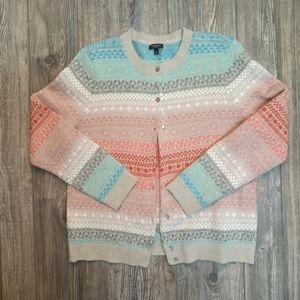 Talbots Button Up Sweater Lambswool Mohair Lg P